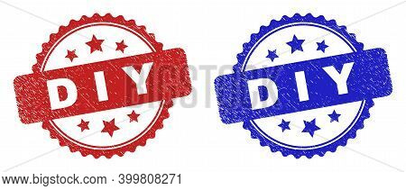 Rosette D I Y Seal Stamps. Flat Vector Textured Seal Stamps With D I Y Phrase Inside Rosette With St