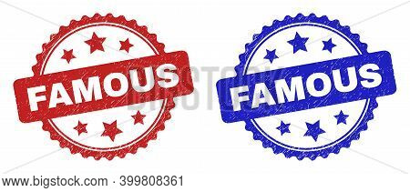 Rosette Famous Seal Stamps. Flat Vector Scratched Seal Stamps With Famous Text Inside Rosette Shape