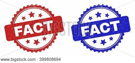 Rosette Fact Seals. Flat Vector Distress Seals With Fact Caption Inside Rosette Shape With Stars, In
