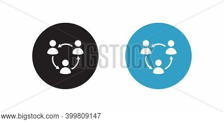 Multiple Sharing Business Icon Vector In Flat Style Isolated On White Background. People Network Soc