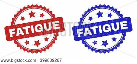 Rosette Fatigue Seal Stamps. Flat Vector Distress Seal Stamps With Fatigue Title Inside Rosette With