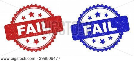Rosette Fail Watermarks. Flat Vector Distress Stamps With Fail Message Inside Rosette With Stars, In