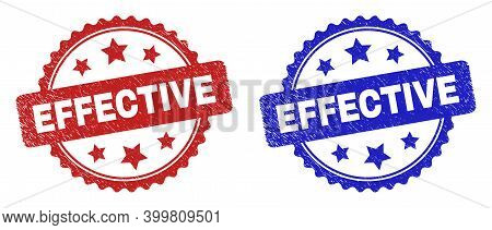 Rosette Effective Seal Stamps. Flat Vector Grunge Seal Stamps With Effective Title Inside Rosette Wi