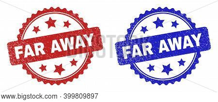 Rosette Far Away Seals. Flat Vector Scratched Watermarks With Far Away Text Inside Rosette Shape Wit