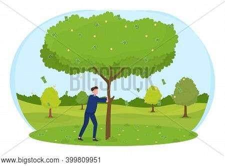 Man Shaking Tree To Shake Off Money To Fall On The Ground. Concept Of An Easy Way To Earn Money And