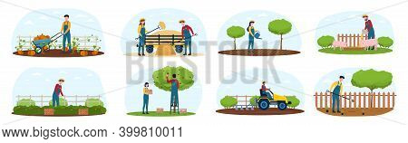 Set Of Farmers Working At The Countryside. Planting Crops, Gathering Harvest, Collecting Fruits, Fee