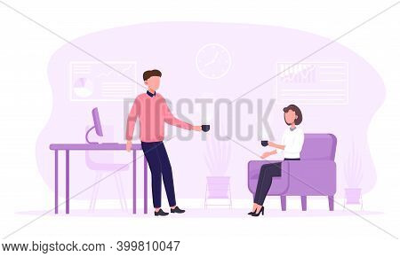 Man And Woman On Coffee Break At Work. Male And Female Colleagues Drinking Coffee And Talking During