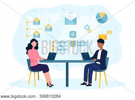 Male And Female Characters Working On Email Marketing. Concept Of Social Media, Email Marketing, Onl