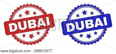 Rosette Dubai Seal Stamps. Flat Vector Textured Seal Stamps With Dubai Title Inside Rosette With Sta