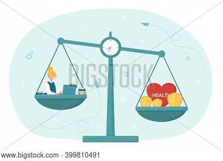 Conflict Of Interest With Health Care And Work. Concept Of Imbalance Comparison. Healthy Lifestyle,