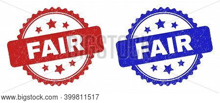 Rosette Fair Seal Stamps. Flat Vector Scratched Seal Stamps With Fair Message Inside Rosette With St