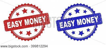 Rosette Easy Money Seal Stamps. Flat Vector Grunge Seal Stamps With Easy Money Title Inside Rosette