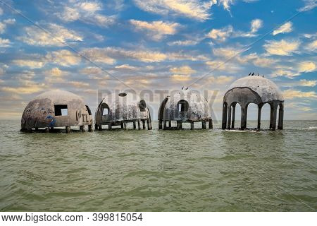Sunset Sky Over The Cape Romano Dome House Ruins In The Gulf Coast Of Florida