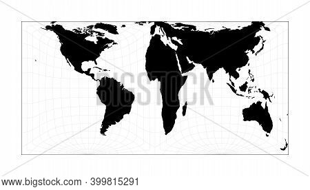 World Map With Longitude Lines. Gringorten Square Equal-area Projection. Plan World Geographical Map
