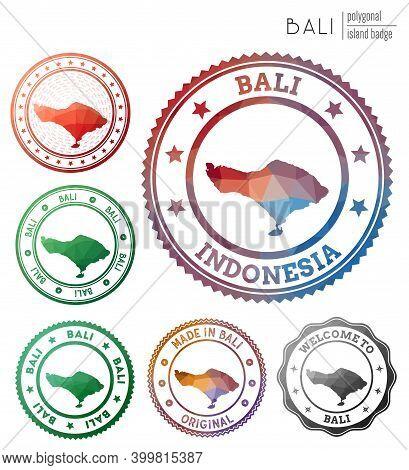 Bali Badge. Colorful Polygonal Island Symbol. Multicolored Geometric Bali Logos Set. Vector Illustra