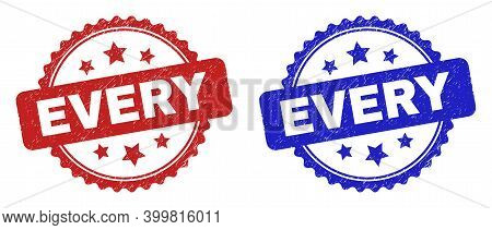 Rosette Every Seal Stamps. Flat Vector Distress Seal Stamps With Every Text Inside Rosette Shape Wit
