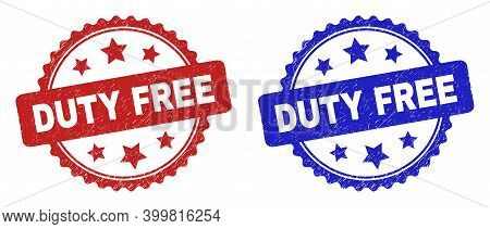 Rosette Duty Free Seal Stamps. Flat Vector Textured Seal Stamps With Duty Free Caption Inside Rosett