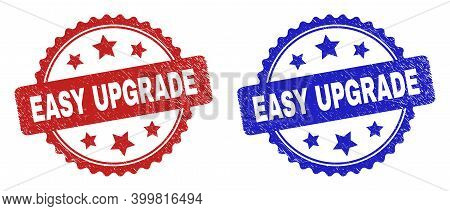 Rosette Easy Upgrade Stamps. Flat Vector Scratched Stamps With Easy Upgrade Phrase Inside Rosette Wi