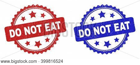Rosette Do Not Eat Watermarks. Flat Vector Distress Watermarks With Do Not Eat Phrase Inside Rosette
