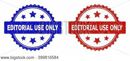 Rosette Editorial Use Only Seal Stamps. Flat Vector Scratched Stamps With Editorial Use Only Title I