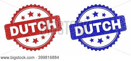 Rosette Dutch Stamps. Flat Vector Scratched Watermarks With Dutch Message Inside Rosette With Stars,