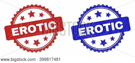 Rosette Erotic Seal Stamps. Flat Vector Grunge Seal Stamps With Erotic Phrase Inside Rosette Shape W