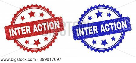 Rosette Inter Action Seal Stamps. Flat Vector Distress Watermarks With Inter Action Caption Inside R