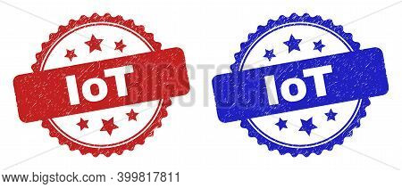 Rosette Iot Stamps. Flat Vector Distress Seal Stamps With Iot Title Inside Rosette Shape With Stars,