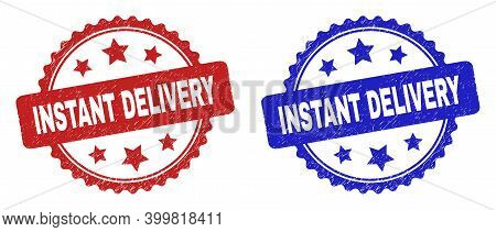 Rosette Instant Delivery Seals. Flat Vector Grunge Watermarks With Instant Delivery Title Inside Ros