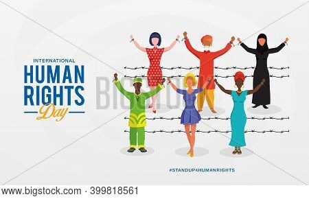 International Human Rights Day Background. Peoples With Different Race Raising Hands And Broken Chai