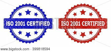 Rosette Iso 2001 Certified Stamps. Flat Vector Grunge Watermarks With Iso 2001 Certified Phrase Insi
