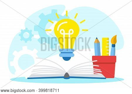 Light Bulb And Educational Supplies. Creative Thinking, E-learning. Back To School, Education Concep
