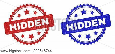 Rosette Hidden Seal Stamps. Flat Vector Scratched Seal Stamps With Hidden Message Inside Rosette Sha