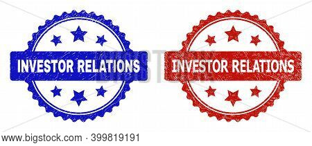 Rosette Investor Relations Seal Stamps. Flat Vector Textured Seal Stamps With Investor Relations Tex