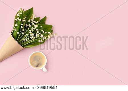 Bouquet Of Flowers And Cup Of Coffee Espresso On Pink Background, Copy Space, Minimal Romance Greeti