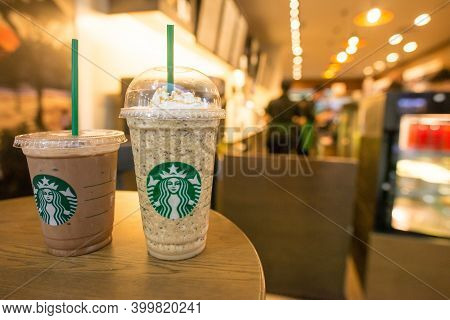 Jakarta, Indonesia : July-19-2018 : Java Chip Frappuccino On The Table In Starbucks Coffee Shop. Jav