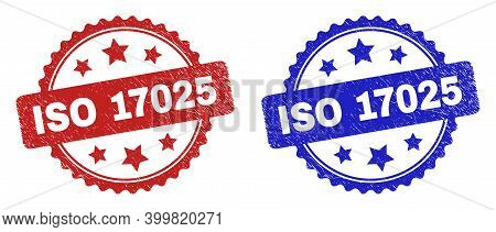 Rosette Iso 17025 Seal Stamps. Flat Vector Grunge Seal Stamps With Iso 17025 Caption Inside Rosette