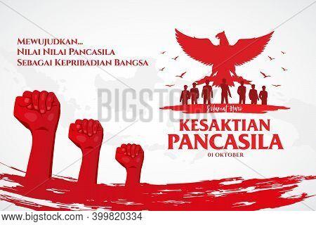 Indonesian Holiday Pancasila Day Illustration.translation: October 01, Happy Pancasila Day