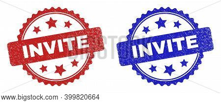 Rosette Invite Seal Stamps. Flat Vector Scratched Seal Stamps With Invite Text Inside Rosette With S