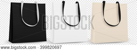 Shopping Bag Isolated. Cotton Eco Tote Blank Template. Blank Eco Template, Bags Mockup. Vector Illus