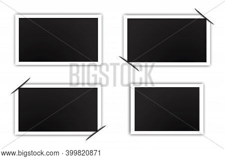 Black Four Photos In Retro Style On White Background. Vintage Card With Folded Corners. Vector Templ
