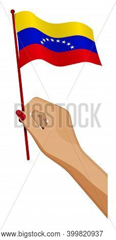 Female Hand Gently Holds Small Venezuela Flag. Holiday Design Element. Cartoon Vector On White Backg