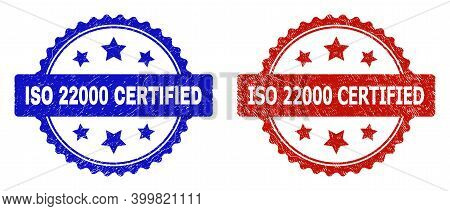Rosette Iso 22000 Certified Seal Stamps. Flat Vector Grunge Seal Stamps With Iso 22000 Certified Tit