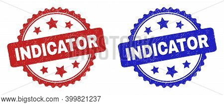 Rosette Indicator Seals. Flat Vector Scratched Watermarks With Indicator Message Inside Rosette With