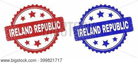 Rosette Ireland Republic Seal Stamps. Flat Vector Scratched Seal Stamps With Ireland Republic Title