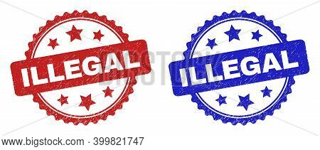 Rosette Illegal Seal Stamps. Flat Vector Grunge Seal Stamps With Illegal Message Inside Rosette With