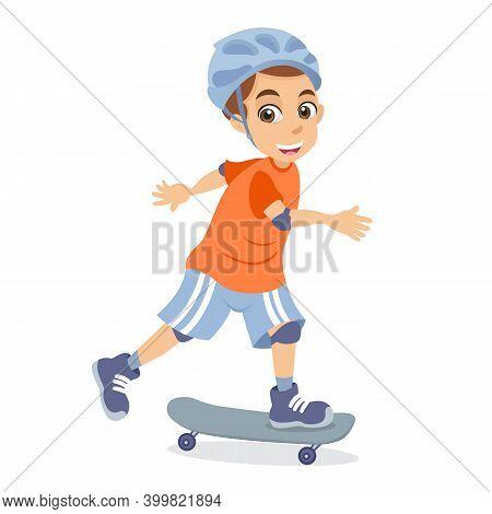 Cute Cartoon Little Boy Skateboarding Isolated On White Background