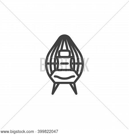 Wicker Chair Line Icon. Linear Style Sign For Mobile Concept And Web Design. Wicker Armchair Outline