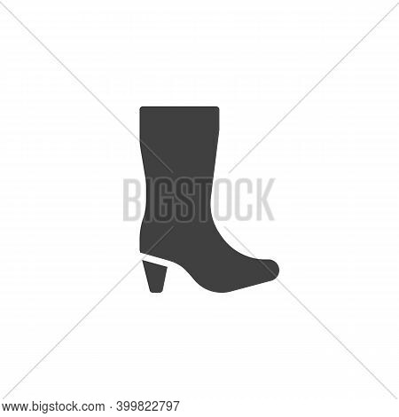 Woman High Heel Shoe Boot Vector Icon. Filled Flat Sign For Mobile Concept And Web Design. High Boot