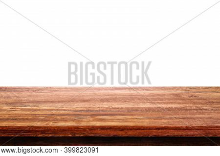 Empty Space Wooden Table Top Isolated On White Background.